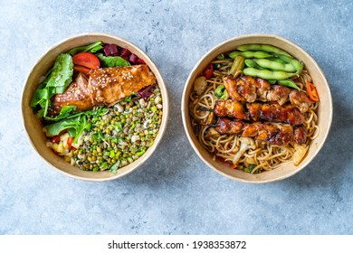 Japanese Yakitori Chicken and Poke Bowl. Take Away Healthy Food in Take out Plastic Powl.