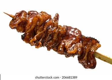 Japanese yakitori isolated on white background