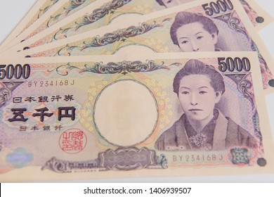 Japanese Yen, 5000 yen on white background , Japanese currency yen bank