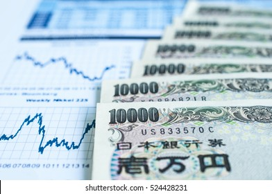 Japanese Yen Bank Note with Stock graph paper work
