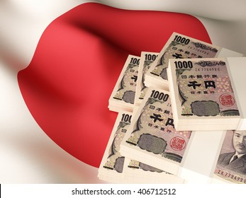 Japanese yen banknote bundles on textile textured Japan flag. 3d illustration.