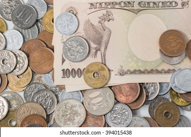 Japanese yen banknotes and coins. Currency of Japan. finance concept.