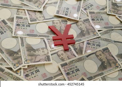 Japanese yen bills with currency symbol