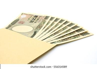 Japanese yen in envelope