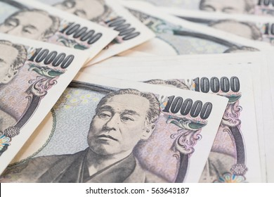 Japanese yen , Stack of Japanese currency yen bank notes