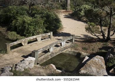 Japanese Zen Garden Bridge Across Water Stock Photo Edit Now