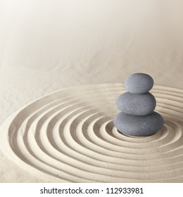 Japanese zen garden meditation stone for concentration and relaxation sand and rock for harmony and balance in pure simplicity