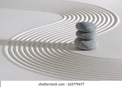 Japanese ZEN garden with stacked stones in raked sand