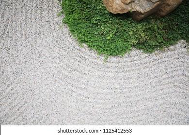 japanese zen stones garden with space background
