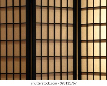 Japanese-style Folding Screen, 3 sections, cream and black, background