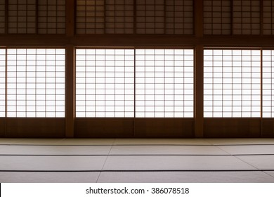 Japanese-style hall with tatami mats and paper sliding doors called Shoji in Japanese