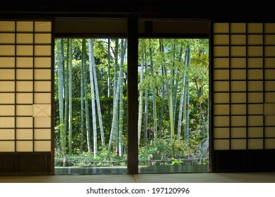 Japanese-Style Room With A View Of Bamboos