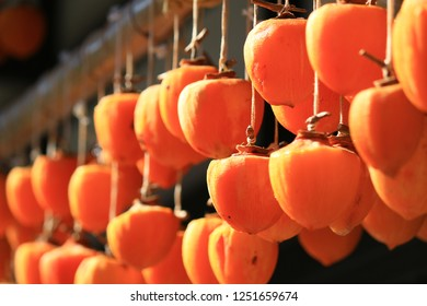 Japan's countryside scenery hanging dried persimmons in the eaves of the house