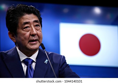 Japan's Prime Minister Shinzo Abe attends a EU-Japan summit in Brussels, Belgium March 21, 2017.