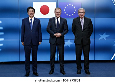 Japan's Prime minister Shinzo Abe is welcomed by EU Council President Donald Tusk and EU Commission President Jean-Claude Juncker at the EU Japan leader's summit meeting in Brussels on 6 July 2017.