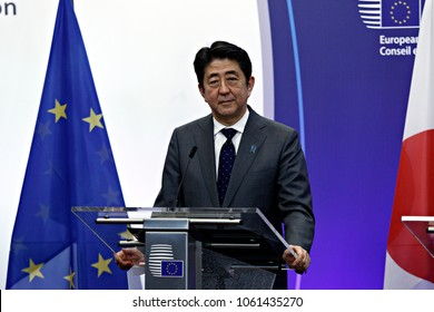 Japan's Prime Minister Shinzo Abe attends in an EU-Japan summit in Brussels, Belgium May 3, 2016.