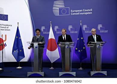 Japan's Prime minister Shinzo Abe is welcomed by EU Council President Donald Tusk and EU Commission President Jean-Claude Juncker at the EU Japan leader's summit meeting in Brussels on 3 May 2016.