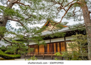 Japnanese buddhism temple behind tree branches in spring look peaceful