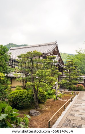 Japnanese Traditional Building And Zen Garden Tenryuji Temple Arashiyama  District Kyoto , Japan