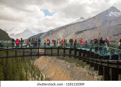 Japser, Alberta, Canada - September 2nd, 2018: Tourists at Glacier Skywalk during summer in Jasper National Park, Canadian Rockies, Alberta, Canada.