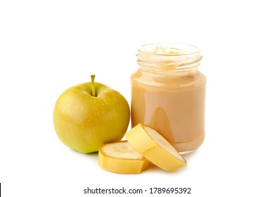 Jar of baby puree with apple and banana isolated on white. Top view - Shutterstock ID 1789695392
