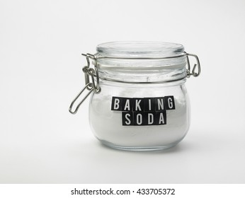 jar of baking soda on the white background