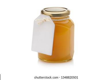 Jar de miel de Bashkir, tournage en ridicule isolé sur fond blanc