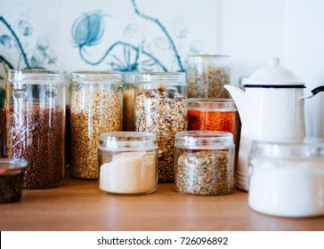 Jar of cereals in kitchen cupboard