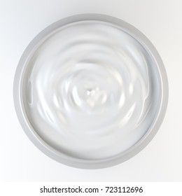 Jar of cosmetic cream isolated on white top view, 3d illustration