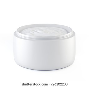 Jar of cosmetic cream isolated on white, 3d illustration