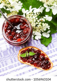 Jar of cranberry jam, selective focus. Preserved food. Morning still life. Food for breakfast or snack.