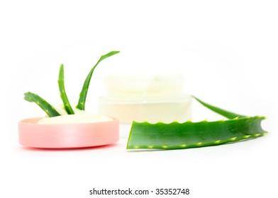 Jar of cream with aloe