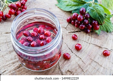 Jar with an elixir or tincture with viburnum berries on a wooden background, a red twig of viburnum in the background. Phytotherapy.