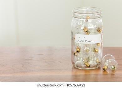 Jar Filled Light Bulbs Ideas Written Objects Stock Image 1057689422