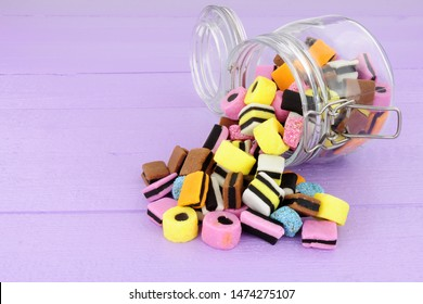 Jar filled with  traditional liquorice allsorts candy