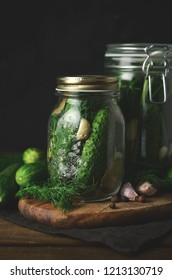A jar of freshly pickled cucumbers. polish delicacy