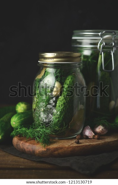 A jar of freshly pickled cucumbers. polish delicacy