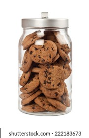 Jar full of chocolate chip cookies isolated on white background