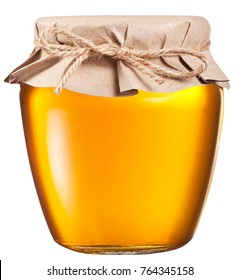 Jar full of fresh honey. File contains clipping path.