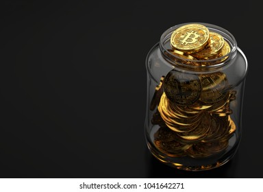 Jar full of golden Bitcoin coins isolated on black background with copy space on the left. Bitcoin Hold concept. Realistic 3D rendering