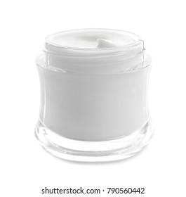 Jar with hand cream on white background