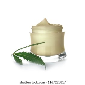 Jar with hemp lotion on white background