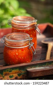 Jar of home made classic spicy Tomato, Chillie, garlic and Peper sauce salsa