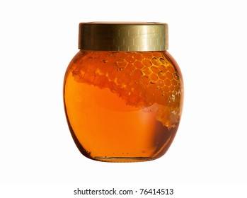 Jar of Honey with honeycomb isolated on white