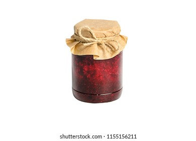 Jar with jam of berries wrapped in wrapping paper, isolated on white background