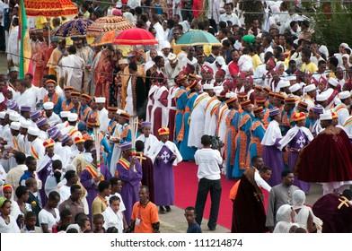 JAR MADA, ADDIS ABEBA - JAN 18:  Ethiopian Orthodox celebration of Epiphany. It is celebrated on January 19 each year during the Timkat Festival. January 18, 2012 in Jar Mada, Addis Ababa, Ethiopia