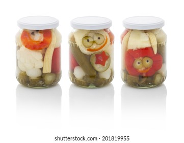 Jar of mixed pickles isolated on white background (with PS paths)