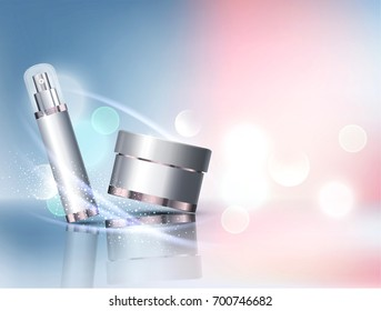jar on bokeh background. Element for modern design, advertising for sales, template cosmetic face cream, body.Realistic 3d illustration.Banner, flyer,brochure for the promotion of products for beauty