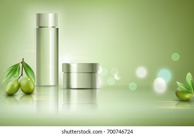Jar on bokeh background with green olives  . Element for modern design, advertising for sales, template cosmetic face cream, body. Realistic 3d illustration.