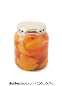 Jar of peaches isolated on a white background